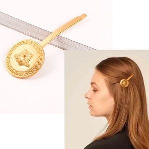 Versace Inspired Medusa Gold Circle Hair Pin